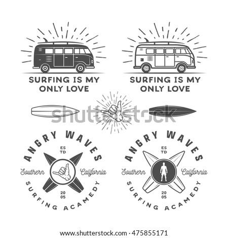 Vintage Surfing Graphics Retro Logo Set Stock Vector