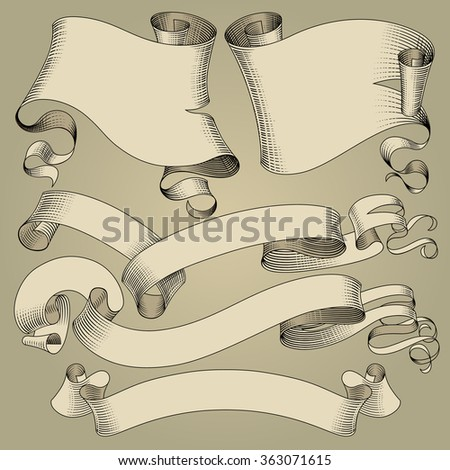 Set of vintage ribbons and flags in engraving drawing style. - stock photo