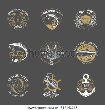 Set of vintage seafood logos with fish, crab, lobster, shrimp, anchor, helm and sunburst on gray background. White, gold and gray colors - stock photo