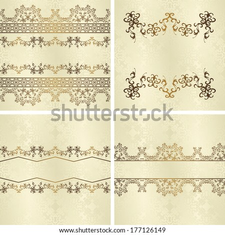 Set of vintage seamless backgrounds with decorative ribbons. Seamless wallpaper. Raster version