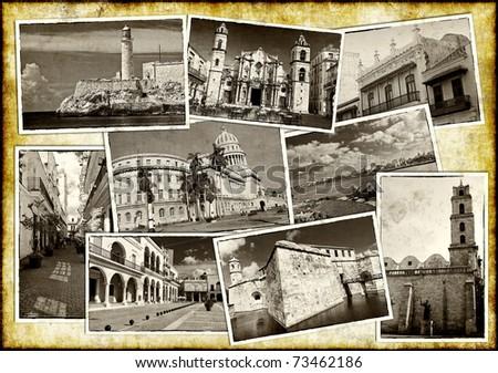 Set of vintage sepia postcards of Havana on a paper background - stock photo