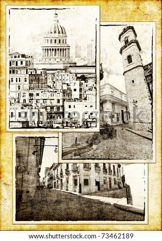 Set of vintage sepia postcards of Havana on a paper background - stock photo