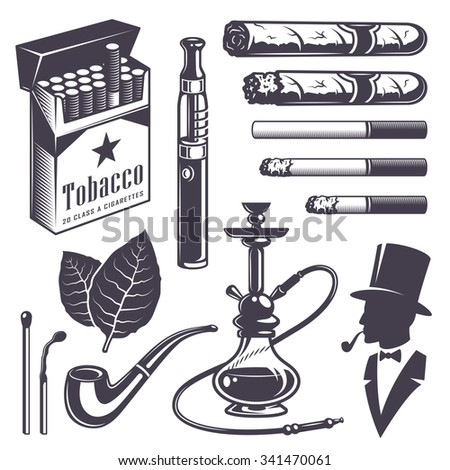 Set of vintage smoking tobacco elements. Monochrome style. Isolated on white background. - stock photo