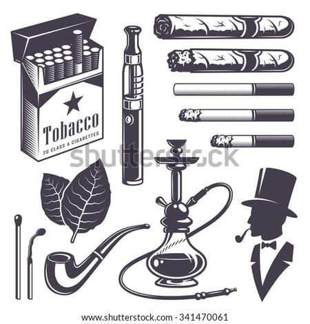 Set of vintage smoking tobacco elements. Monochrome style. Isolated on white background. - stock photo