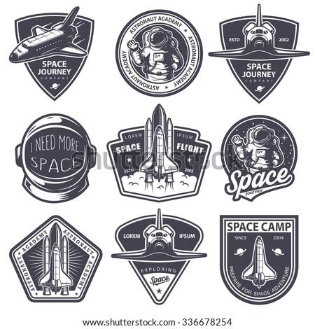 Set Of Vintage Space And Astronaut Badges Emblems Logos Labels Monochrome Style