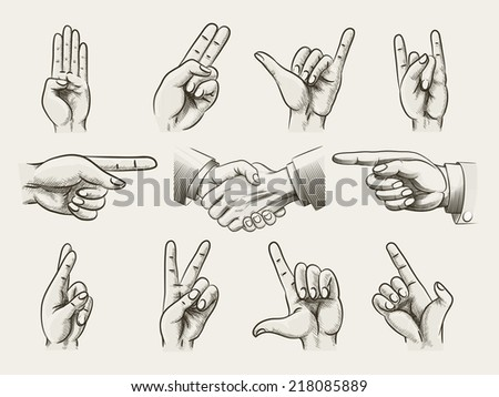 Set of vintage style hand gestures showing counting  hard rock horns  v-sign for peace or victory  pointing and two businessmen in a handshake drawings - stock photo