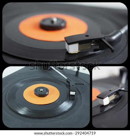 Set of vinyl records on a dj turntable