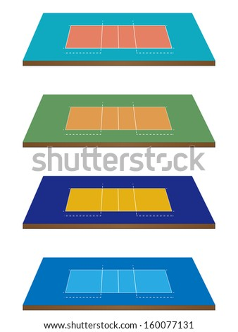 Set of Volleyball Courts in Different Colours 3D Perspective - stock photo