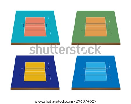 Set of Volleyball Courts in Different Colours 3D with Nets - stock photo