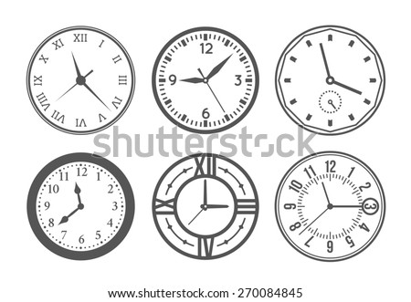 Set of wall clock. Watch and circle, symbol, second and minute - stock photo