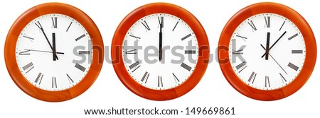 set of wall clock with twelve o clock isolated on white background - stock photo