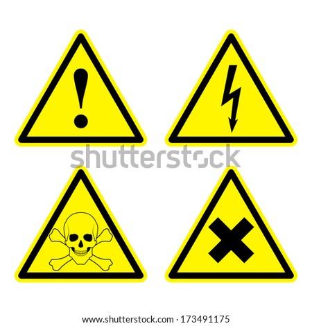 Set of Warning Sign - stock photo