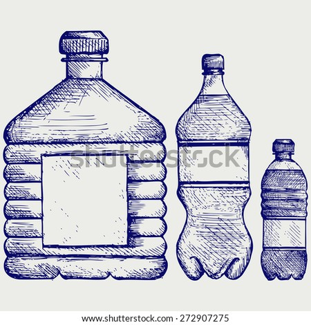 Set of water bottles. Doodle style. Raster version - stock photo