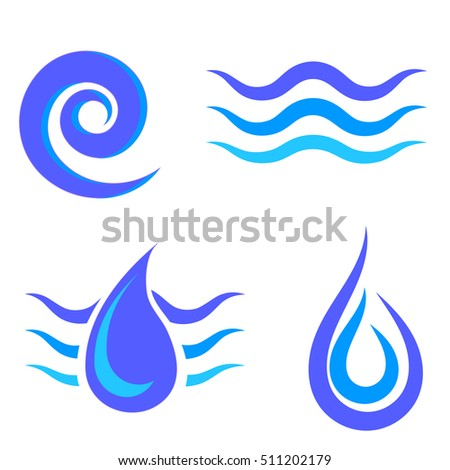 Set of Water Icons Isolated on White Background