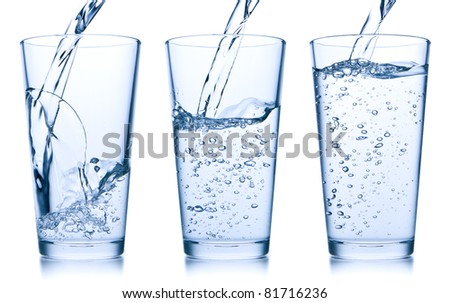 set of water pouring into glass on white background - stock photo