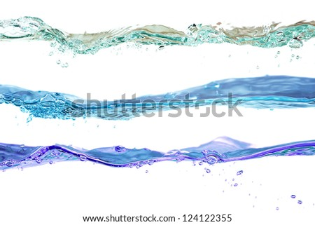 Set of water waves natural, blue and violet colors on a white background