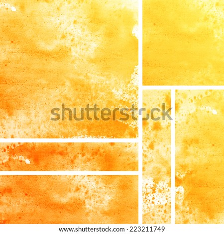 Set of watercolor abstract hand painted backgrounds. Aquarelle orange texture.  - stock photo