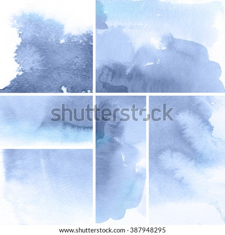 Set of watercolor abstract hand painted backgrounds. Serenity Tint Watercolour Texture Gradient. Pastel Colored Palette. - stock photo