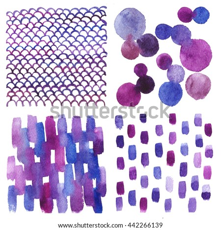 Set of watercolor backgrounds. Abstract texture. Blue, purple, pink.
