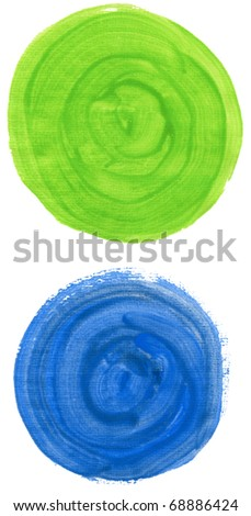 Set of watercolor blobs on white background - stock photo