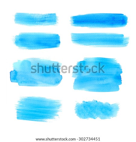 Set of watercolor blue strips, isolated on white background. Colored sea blobs. - stock photo