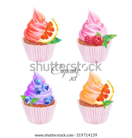 set of watercolor cupcakes on a white background - stock photo