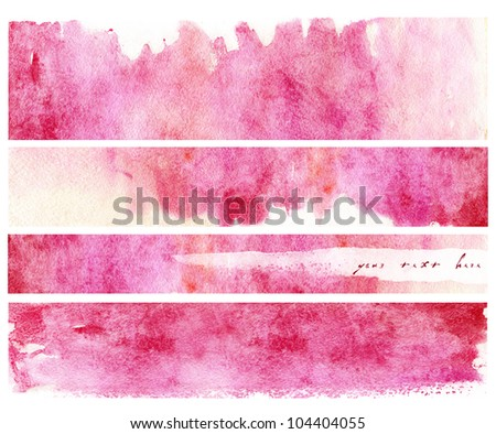 Set of watercolor hand painted banners - stock photo