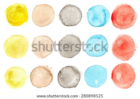 Set of watercolor hand painted circles - stock photo