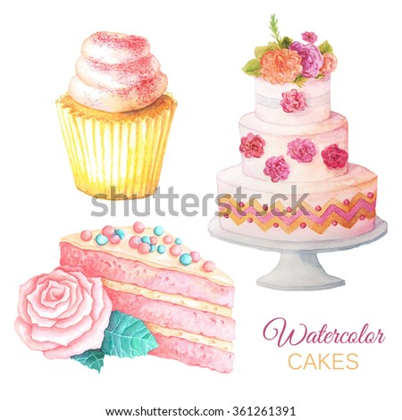 Set of Watercolor hand painted sweet and tasty cakes with flowers on it.  Fruit desserts can be used for card, postcard, wedding card, invitation, birthday, menu, recipe  - stock photo