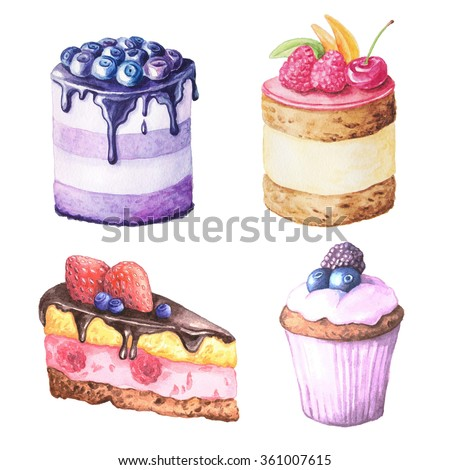 Set of Watercolor hand painted sweet and tasty cakes with raspberries, cherry and other berries on it.  Fruit desserts can be used for card, postcard, wedding, invitation, birthday, menu, recipe  - stock photo