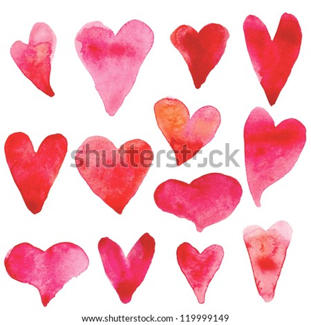 Set of watercolor hearts - stock photo