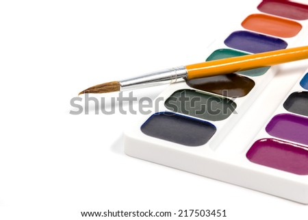 Set of watercolor located diagonally with orange brush isolated on white background - stock photo