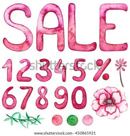 Set of Watercolor Numbers, Word Sale and Flower