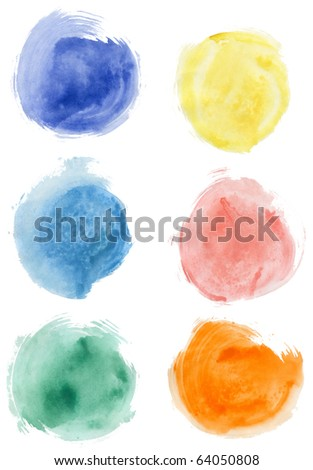Set of watercolor olor blobs, isolated on white background - stock photo