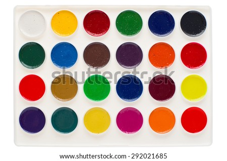 Set of watercolor paints in palette isolated on white. - stock photo