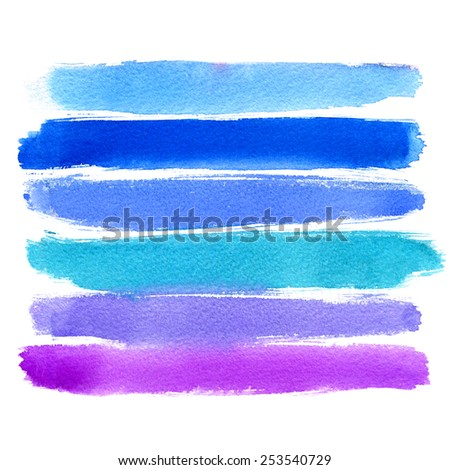 Set of watercolor stains on white background, abstract blots isolated. Bright colors, color of sea - stock photo