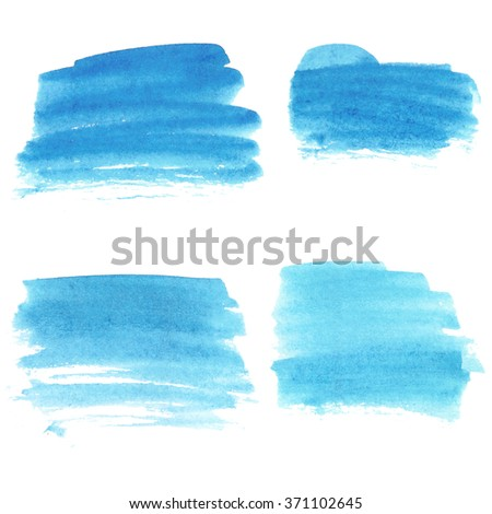 Set of watercolor stains. Spots on a white background.  A bright blue color. - stock photo
