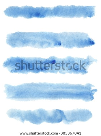 Set of watercolor stripes. Spots on a white background. Blue color. - stock photo