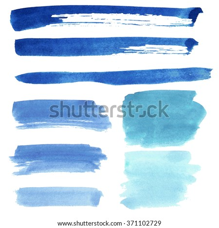 Set of watercolor  stripes. Spots on a white background. Stripe, spot, shading. Blue color. - stock photo