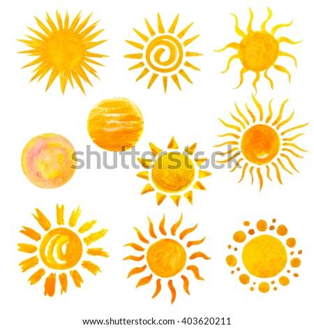 set of watercolor sun icons isolated on white. Hand painting watercolor sun set, on holiday, vacation, travel or nature theme - stock photo