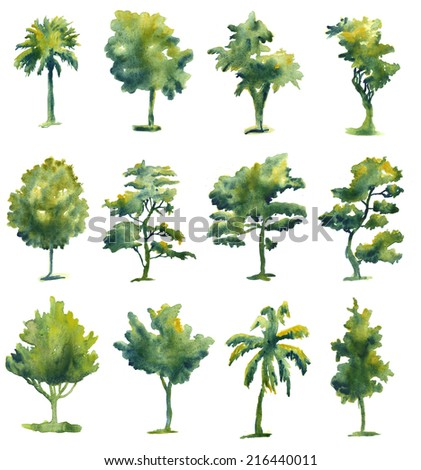 Set of watercolor trees isolated on white background