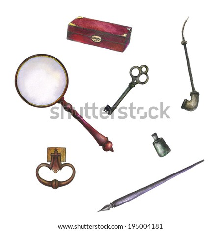 Set of watercolor vintage accessories. antique box, key, ink feather pen, magnifying glass, feather isolated on white background. - stock photo