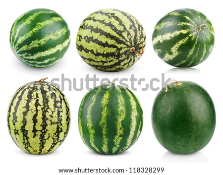 Set of watermelon fruits isolated on white background - stock photo