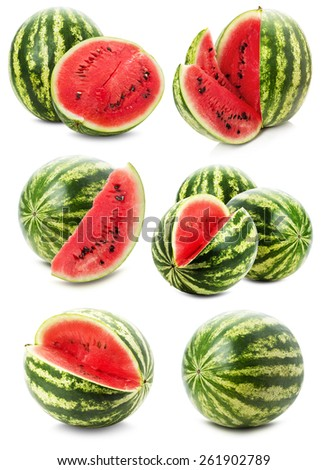 set of watermelons isolated on the white background - stock photo