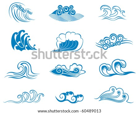 Set of wave symbols for design isolated on white - also as emblem or logo template. Vector version also available in gallery