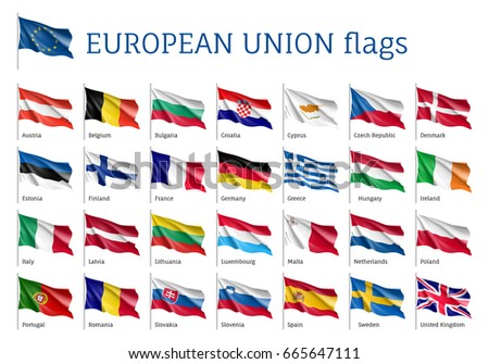 Set of waving flags of EU: Spain, Sweden, Poland and Portugal, Belgium, Denmark, Latvia and Romania. 25 ensigns on flagpole of European Union states. Isolated icons on white background
