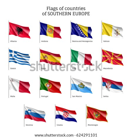 Set of waving flags of European countries: Bosnia-Herzegovina, Croatia and Macedonia, Montenegro and Portugal. 15 ensigns on flagpole of Southern Europe states.