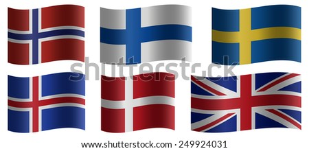 Set of wavy national flags   - stock photo