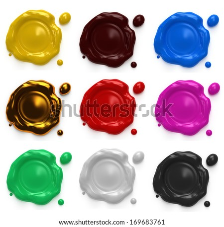 Set of wax seal with space for text isolated on white background. Place for your text here. Template for your design.