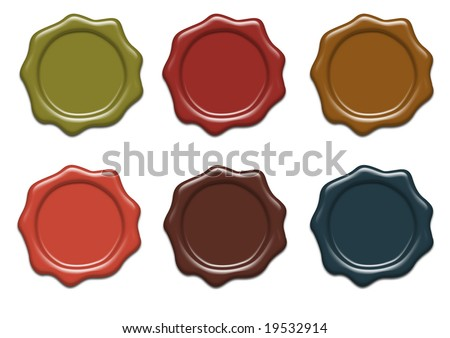 Set of wax seals of different colors - stock photo